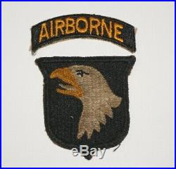 101st Airborne Division White Tongue Greenback with tab Patch WWII US Army P9580