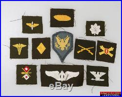 11pc WWII US Army Air Armored Finance Lt. Colonel Bombardier Signal Insignias