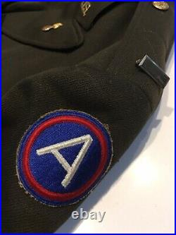 1942 Named WWII U. S. Army Ordnance Officers Uniform Jacket 3rd Army Patch D-Day