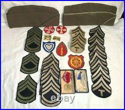28pc lot WWII US Army PATCHES Good Conduct Metal + Box OVERSEAS GARRISON Hats