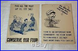 2 WWII US Army Food Is War Commodity Eat What You Take Cafeteria Posters