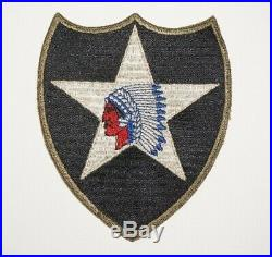 2nd Infantry Division OD Border White Back Gemsco Style Patch WWII US Army P9916