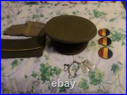 3 WWII US Army Hats 1 dog tag 2 patches1943 vintage antique WORLD WAR 2 ORIGINAL