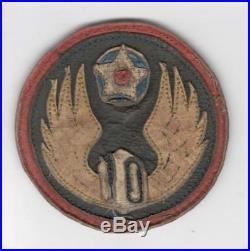 3 WW 2 US Army Air Forces 10th Air Force Leather Patch Inv# V994