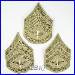 5 Sleeve Patches WWII US Army Air Corps Staff Sergeant Chevron Khaki & Black