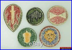 5pc WWII US Army 92nd 106th 63rd 87th 7th Infantry Division Insignia Patches