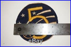 5th Air Force Theater Made Patch Flight Jacket Size AAF WWII Wool US Army C1324