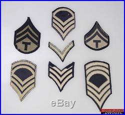 7pc WWII US Army Master Staff Technical Sergeant Technician Chevron Rank Patches