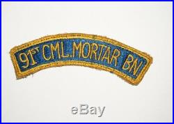 91st Chemical Mortar Battalion tab Patch WWII US Army P8495