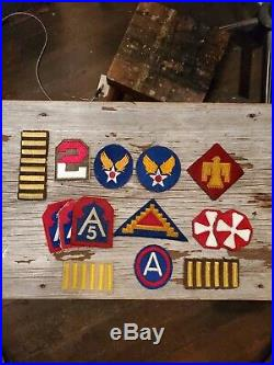ANTIQUE OLD 3rd 5th 7th 8th AIRFORCE US ARMY PATCH LOT WWII WW2 AAF OVERSEAS BAR