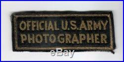 Bullion WW 2 Official U. S. Army Photographer Patch Inv# A828