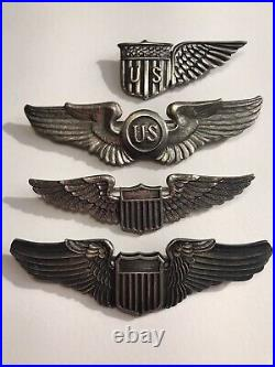 Chronological Grouping Of US Army Sterling Observers Pilots Wings WW1 thru WW2