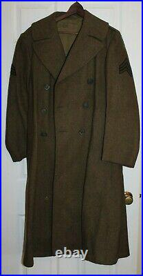 EXCELLENT WWII US ARMY 36 INFANTRY OD ENLISTED UNIFORM WOOL OVERCOAT 36R withPATCH