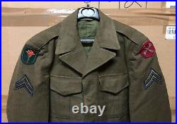 GENUINE US ARMY WW2 IKE JACKET COAT FIELD WOOL OD With BULLION PATCHES VGC! 36R