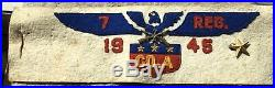 GREAT 1945 7th Cavalry Regiment, US Army WWII Pacific Felt ARMBAND with Eagle, Pin