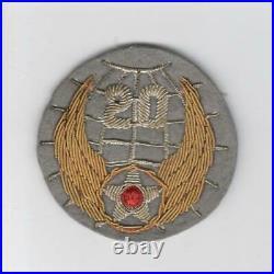 Gemsco Bullion on Wool WW 2 US Army Air Force 20th Air Force Patch Inv# E896