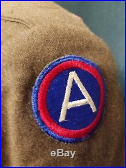 Genuine WW2 3rd Army US Eisenhower Military Jacket Pins Patches 1944 Wool SM IKE