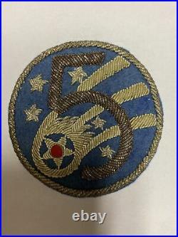 H0124 Original WW2 US Army AAF 5th Air Force Bullion Shoulder Patch L1D