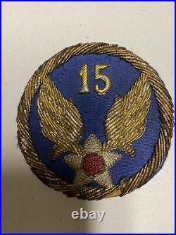 H0843 Original WW2 US Army 15th Air Force Bullion Shoulder Patch IR45A