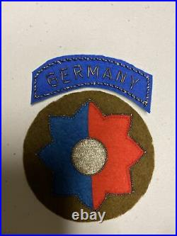 H0871 Original WW2 US Army 9th Infantry Division bullion Shoulder Patch IR45A