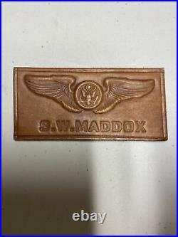 H1306 Original WW2 US Army Air Crew Air Force AAF Leather Name Tag IR45B