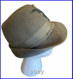 Italian Army Style Alpini Mt. Hat 1930s WWII Style with Patch & Vtg. Pin Sz 56 US7