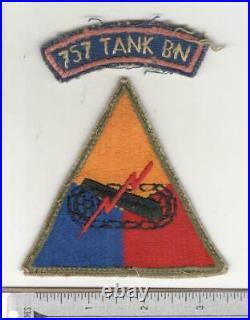 Italian Made WW 2 US Army 757th Tank Battalion Patch & Tab Inv# W930
