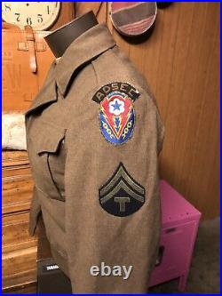 Jackets Field Wool IKE 36R MINT WWII Bullion ADSEC Patch US MILITARY Army USMC S