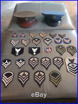 LOT of WWII (2) Officer Dress Caps Hats & Patches Army Airforce US Military Lux