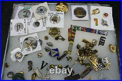 Large Lot Of Us Army Navy Pins Medals Insignia Ww1 Ww2 Vietnam (c32)