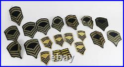 Lot WWII Era & Later US Army Military Sergeant Chevron + Other Patches