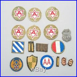 Lot of 15 WWII United States US Military Army & Air Force Patches + Bonus Pin