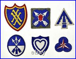 Lot of 24 WWII US Army Corps Original Patches 2-10 12-16 18-24 36