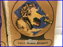 Lot of 2 WW2 US Army Air Corp 643rd Bombardment Emblems