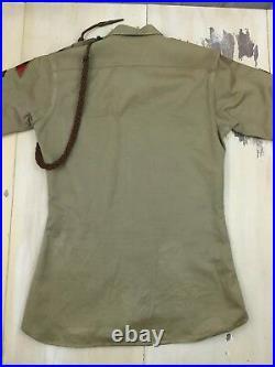 MILITARY SHIRT Vtg Korea Khaki US Army WWII Patches Pins Uniform, Mens MEDIUM