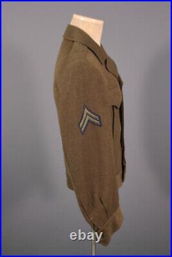 Men's WWII 1940s US Army Ike Jacket W Patches 34 L Small 40s WW2 Uniform