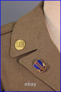 Men's WWII US Army 9th Air Force Ike Jacket 36 Small WW2 Air Corps Pins Patches