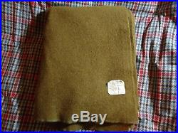 Military Blanket Vintage WW2 US Wartime Army Brown Green Wool With Tag 1945 #1