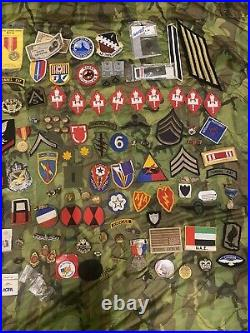 Military Junk Drawer Lot, WW2, Vietnam Modern US Army Navy Patches Pins Medals
