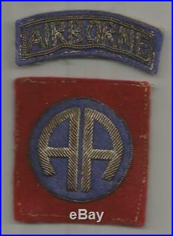 Off Uniform Bullion WW 2 US Army 82nd Airborne Division Wool Patch Inv# S299