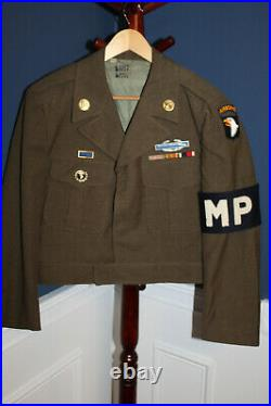 Original Late WW2 U. S. Army 101st Airborne & MP's Patched Ike Jacket withGI Stamps