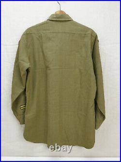 Original US ARMY WW2 Feldhemd SHIRT M-1937 UNIFORM HEMD 15 x 32 Gr. 50 + Patches