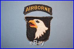 Original Vintage WW2 U. S. Army 101st Airborne Patch with Rocker Tab White Back