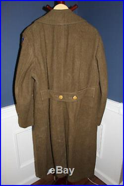 Original WW2 U. S. Army 2nd Air Force Patched Wool O. D. Uniform Overcoat, 1942 d