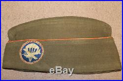 Original WW2 U. S. Army Airborne Patched Wool Overseas Hat withCustom Sewn Patch