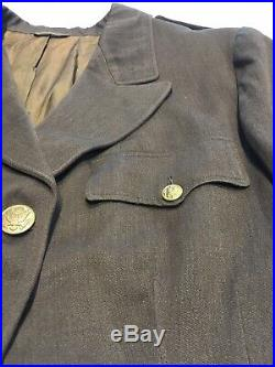 Original WWII ANC WAC WAAC U. S. Army Nurse Summer OD Officer Jacket With Patch