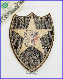 Original WWII US Army 2nd Infantry Division Shoulder Patch-Indian Head-OD Edges