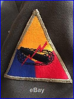 Original WWII US Army Officers Jacket Big Red One & Armored Division Patch 38R