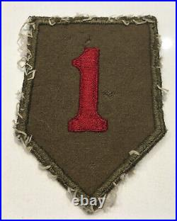 Original WWII U. S. Army 1st Infantry Division Wool Cut Edge Black British Patch