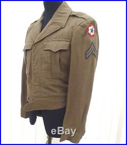 Original Wwii 1944 Us Army Air Force Corporals Ike Field Jacket & Patches